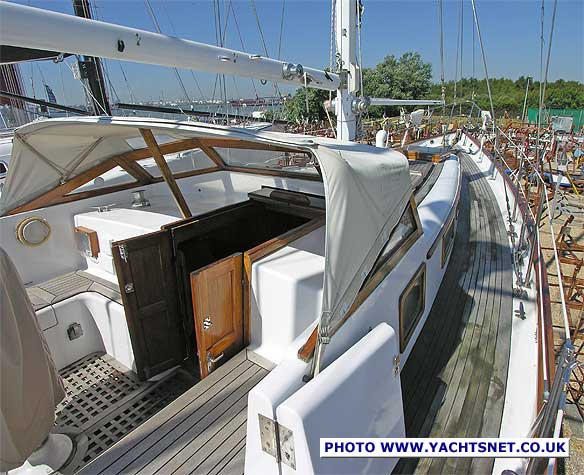 She has a low fixed windscreen, as seen on Hallberg Rassys, over which a ...